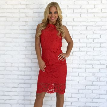 Light A Fire Crochet Midi Dress in Red