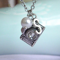 antique silver initial pearl camera necklace jewelry