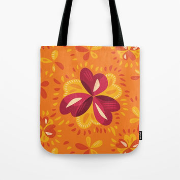 Orange And Pink Clover Abstract Floral Tote Bag by borianagiormova