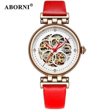 Aborni Women Mechanical Watches Diamond Ladies Skeleton Watch Women Wristwatches Automatic Clock Relogio Feminine