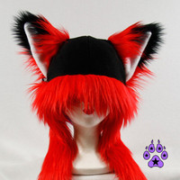 You Pick BRIGHT or Dark Red FOX kitsune cat Puffet Hat by pawstar