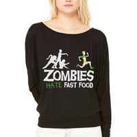 Zombies Hate Fast Food WOMEN'S FLOWY LONG SLEEVE OFF SHOULDER TEE
