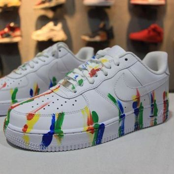 CREYNW6 Nike Air Force 1 Low Customized White Camo Graffiti Sport AF1 Shoes