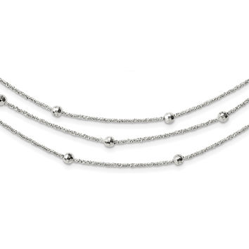 Sterling Silver Polished 3 Strand Beaded w/2in. Ext. Necklace QG3771