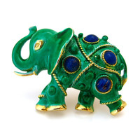 CAPRI Elephant Brooch / Green Enamel Blue Glass Cabochon Animal Figural / Vintage 1960s Jewelry