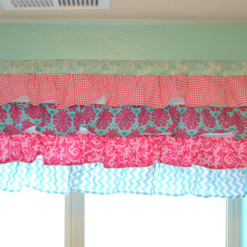 Custom Ruffled Curtain Valance, Hot Pink and Turquoise, Made to Order