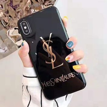YSL Trending Chic iPhone Phone Cover Case For iphone 6 6s 6plus 6s-plus 7 7plus 8 8plus iPhone X XR XS XS MAX Black