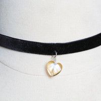 Crystal Heart Necklace Choker, Heart Charm, Black Velvet Necklace