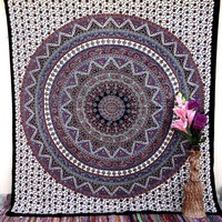 Psychedelic Red Star Mandala Tapestry Hippie Wall Hanging Beach Blanket Decor