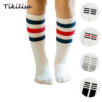 Brand Stripes Sports Football Kids Socks Toddler Baby Cotton Socks Knee High Long Warmers Cute Boy Girl Children Socks 0-5 Y