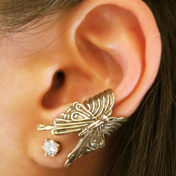 Bronze Butterfly Ear Cuff