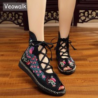 Veowalk Peacock Embroidered Women Peep Toe Gladiator Canvas Sandals Chinese Handmade Lace up Ladies Summer Fabric Flat Shoes