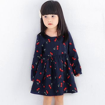 Cherry Baby Dresses for Girls Long Sleeve Princess Dress Girl New Year Costume Soft Cotton Party Clothing 2-8Y