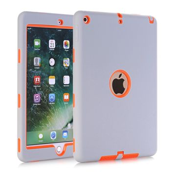 """Cases For New iPad 9.7"""" 2017 (A1822/A1823),High-Impact Shockproof 3 Layers Soft Rubber Silicone+Hard PC Protective Cover Shell"""