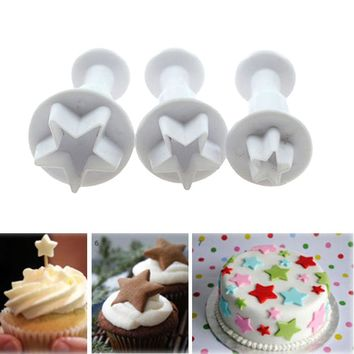 3Pcs/Set Five-pointed Star Plunger Mold Cake Decorating Tools Cake Cookie Cutters Fondant Sugarcraft Cutter