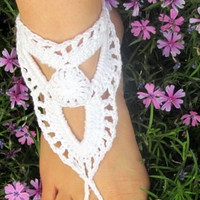 Barefoot Sandals, White Trinity Soleless Sandals, Feet Jewelry, Hippie, Boho, Beach Wedding, Ankle Bracelet, Slave Anklet