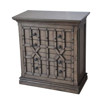 Sedgwick Overlaid Geometric 4 Drawer Chest in Antique Natural Walnut Finish by Crestview Collection CVFZR1645