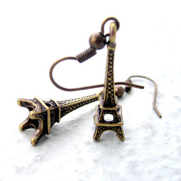 Eiffel Tower Charm Earrings Paris Dangle Bronze by pearlatplay