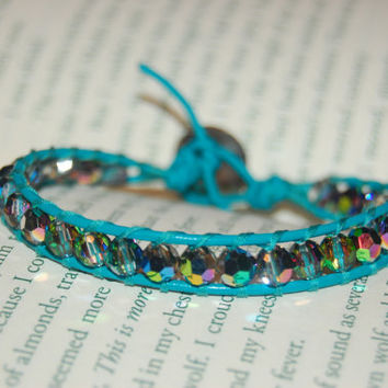 Turquoise Leather Bracelet with Swarovski Crystals in Vitrail.  Valentines Day Gift.  Turquoise Wrapped Bracelet.