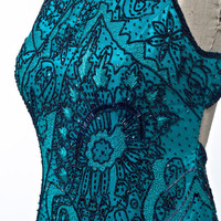 Vintage Adrianna Pappell Turquoise Silk 30's Art Deco Style Black Beaded Formal Evening Gown Size Medium