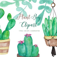 Watercolor Clipart Plants Succulents, planters, cactus. Hand Painted Watercolour graphics with macrame hanging planter. Download images.