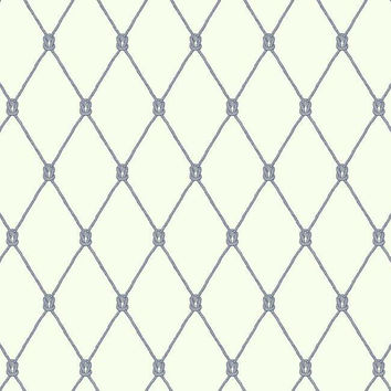 Knot Trellis Wallpaper in Ivory, Blue, and Grey design by York Wallcoverings