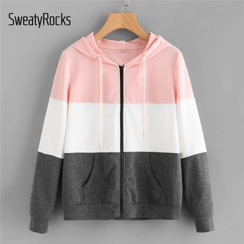 SweatyRocks Cut And Sew Hoodie Jacket Multicolor Colorblock Drawstring Hooded Zipper Coat Women Autumn Athleisure Preppy Jacket