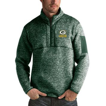 Green Bay Packers Antigua Green Fortune Sweater Knit Microfleece Quarter-Zip Pullover Jacket