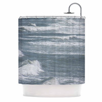 "Suzanne Carter ""Crest"" Blue Gray Shower Curtain"