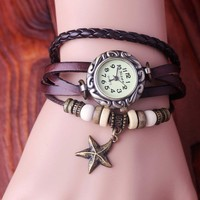 Classical Roman Style Leather Bracelet Watch