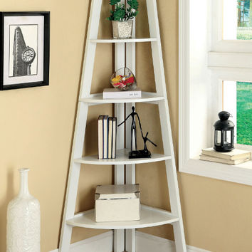 Furniture of america CM-AC6214WH Lyss white finish wood 5 tier corner bookcase shelf