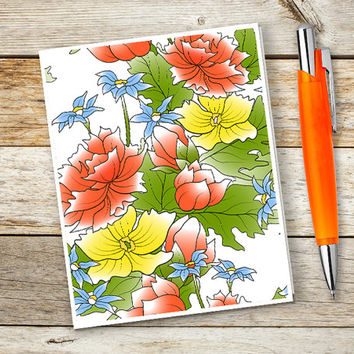 Flower greeting card, Blank note card, Handmade celebrate card, 4x5 or 4x6 inches folded