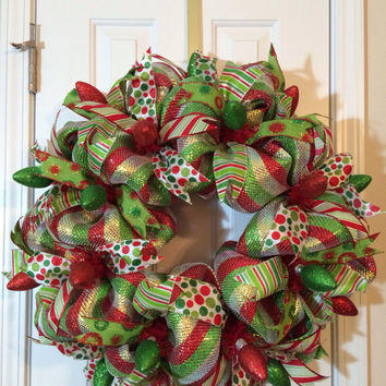 Christmas Lights Deco Mesh Wreath