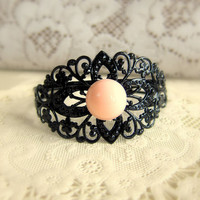 Black Bracelet Black and Pink Bangle Black Peach Wedding Corsage Lord of the Ring Shabby Chic Bridesmaids Bracelet