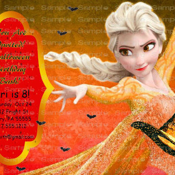 HALLOWEEN Party InvitationsPersonalized Custom Frozen Elsa DIY or I Print 4 U