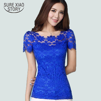 2015 New Short Sleeve Tee Shirt Top For Women Clothing Women Lace Blouse Sexy Floral Sheer Blouses M-5XL blusas femininas 945