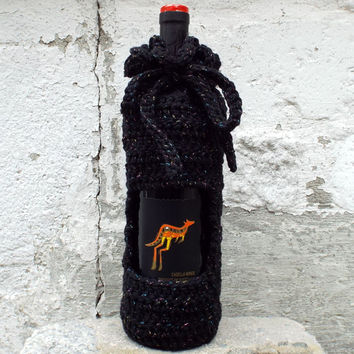 Black Sparkle Wine Cozy - Crochet Wine Bag - Bottle Gift Bag - Wine Holder
