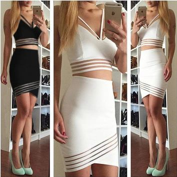 DCK9M2 New Fashion Casual Two Piece Bodycon Midi Skirt Set, Women Long Sleeve Crop Top and Pencil Skirt Set Party Clubwear White Black