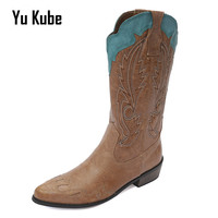 Yu Kube Women Western Cowboy Boots Brown Leather Autumn Low Heel Knee High Boots Woman Med Heels Wedding Shoes performance shoes