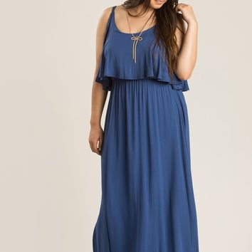 Plus Leia Blue Maxi Dress