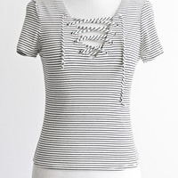 RYES LACE UP TOP - SOFT WHITE/BLACK