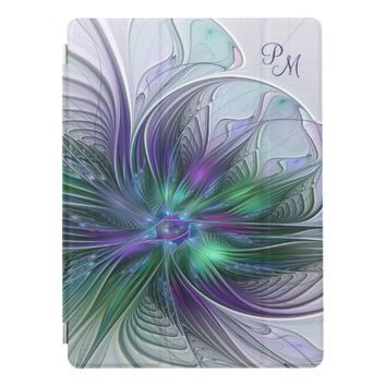 Purple Green Flower Abstract Art Fractal Monogram iPad Pro Cover