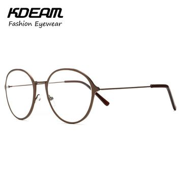 Fashion Preppy Metal Plated Nerd Eyeglasses Round Frame With Clear Lenses Computer Glasses All-Fit