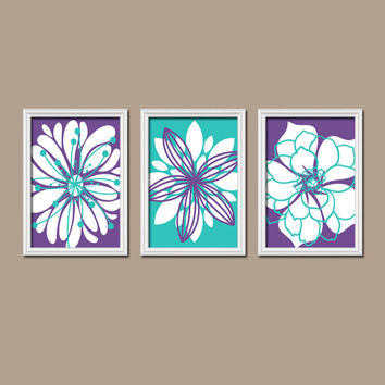 Purple Turquoise Flower Wall Art Nursery Canvas Artwork Dah
