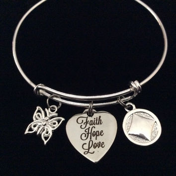 Narcotics Anonymous Faith Hope Love Heart with Butterfly Silver Expandable Charm Bracelet Bangle