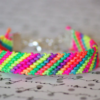 Multi Colored NEON Friendship Bracelet WIth Silver Clasp