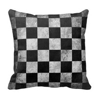 Grunge Checkered Pattern Throw Pillow