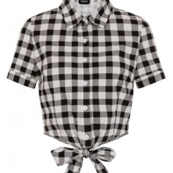 Collectif Sammy Vintage Gingham Retro Tie Blouse | Attitude Clothing