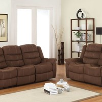 2 pc Huxley collection chocolate polyester fabric upholstered double reclining sofa and love seat set