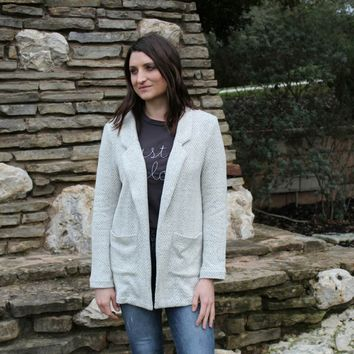 Olivia Open Front Cardigan Blazer - Heather Gray